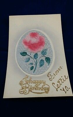 1910  A Happy Birthday  Postcard Raised Rose  Gold Raised Lettering Germany  420