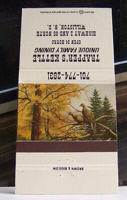 Rare Vintage Matchbook Cover R3 Williston North Dakota Trapper's Kettle Family