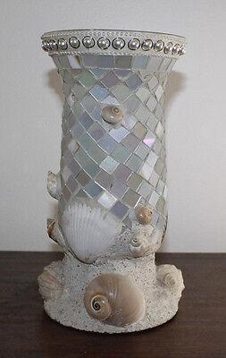 """Nautical, Seashell Vase. Decor. Coastal 9.5"""" tall"""