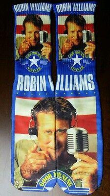 Custom Robin William Good morning Vietnam dry Fit socks sport blue laney](Robin Socks)