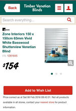 White timber Venetian blind Eatons Hill Pine Rivers Area Preview