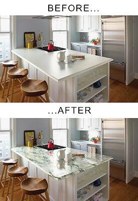 Off-white black faux marble vinyl 22ft x 4ft back splash counter top film adhesive
