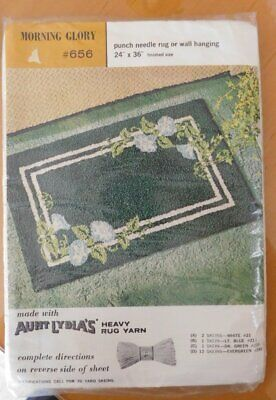 Vtg Aunt Lydia's RUG Stamped MORNING GLORY~Punch Needle or Wall Hanging 24 x 36