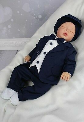 RENE- Eleganter Taufanzug Festanzug Babyanzug dunkelblau NEU  ()