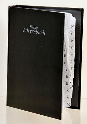 Telefon Adress Ringbuch A5 schwarz mit A-Z Register Telefonbuch Adressbuch