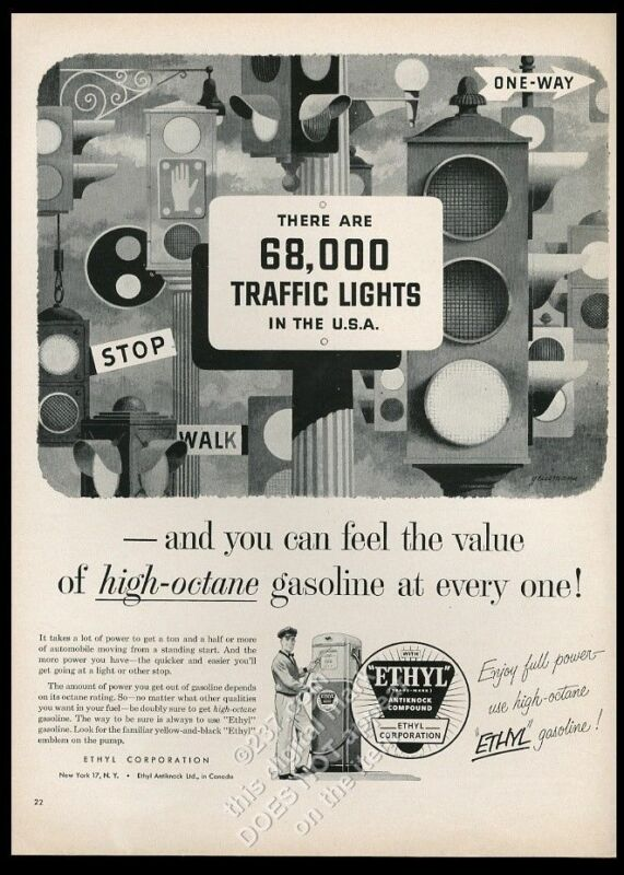 1954 traffic signal stop light variety art Ethyl gas vintage print ad