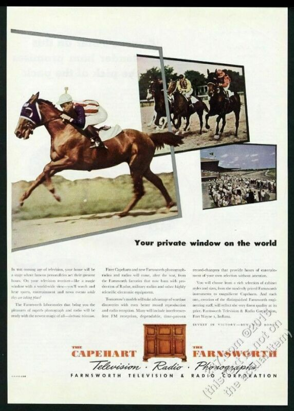 1945 Kentucky Derby race horse color photo Capehart Farnsworth vintage print ad