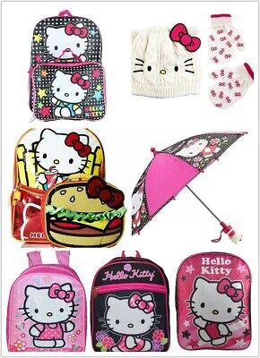 Hello Kitty Girls School Backpack , Umbrella , Beanie Hat & Gloves