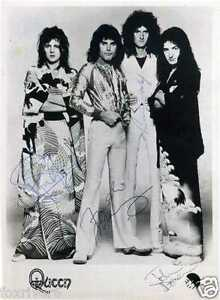 QUEEN-Signed-Photograph-Rock-Stars-Freddie-Mercury-Brian-May-Roger-Taylor-Deacon