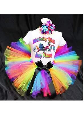 Rainbow Trolls Birthday Tutu Outfit Birthday Dress Up Custom Any Name](Birthday Tutu)