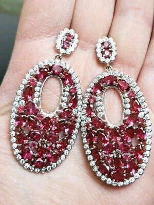 New Pink Tourmaline & White Topaz Silver Cluster Earrings. -