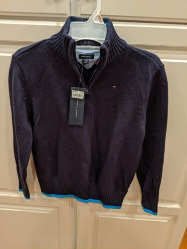 Boys Tommy Hilfiger Size 7 1/4 Zip Blue Sweater Elbow Patches NWT New