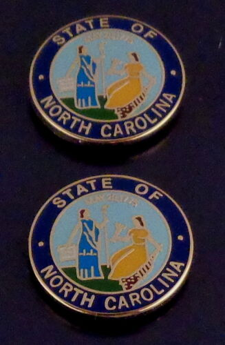 """2 North Carolina COLLAR/LAPEL PINS Gold state seal Police/Fire/EMS 11/16"""" NC"""