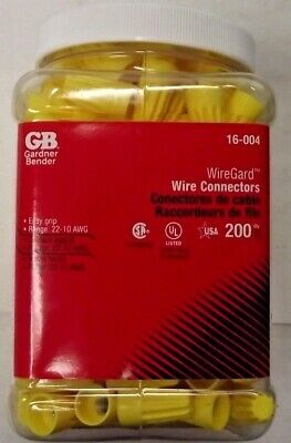 Gardner Bender 16-004 Yellow Wire Connectors 200 Pack Usa