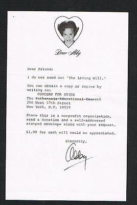 Dear Abby Letter Signed By Abby  Famous People Person Advice Columnist