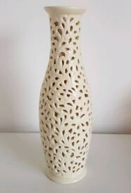 Cream Tall Cut Out Vase