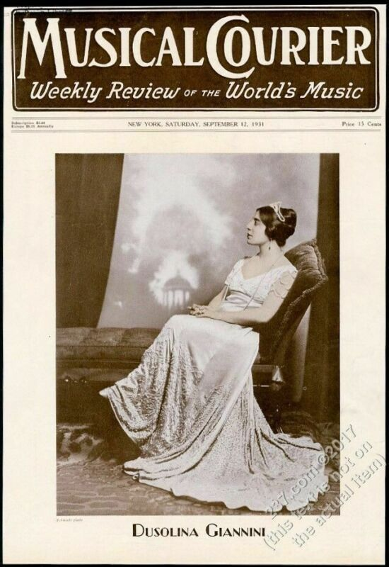 1931 Dusolina Giannini photo Musical Courier framing cover