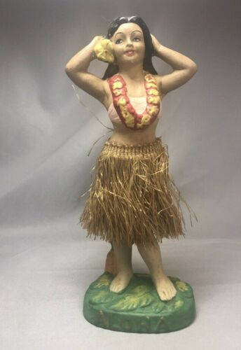 Vintage HULA GIRL DANCER Chalkware NODDER Hawaii ALOHA Flower Lei Bobble
