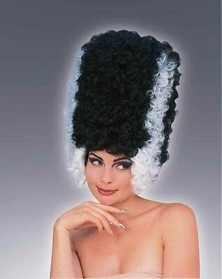Womens Monster Bride Wig Tall Black & White Beehive Hair Halloween Costume Adult - Beehive Wig Black