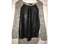 Ladies Gorgeous M&S Size 10 Knitted/Leather Affect Jumper Very Eye Catching
