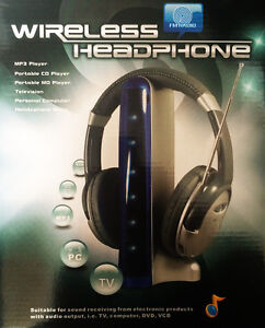 WIRELESS HEADPHONES CORDLESS 6 in 1 HEADSET 7 BLUE LED LIGHTS ON TRANSMITTER