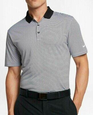 NIKE GOLF VICTORY MINI STRIPE POLO SHIRT DRIFIT LARGE BLACK/WHITE 725520-010 Black Mini Stripe Polo