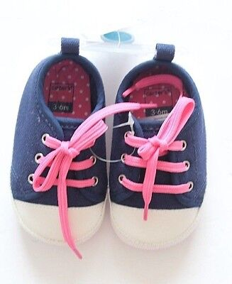 New Carter's Pink Blue White Infant Girl Shoes Sneakers size 3-6 months