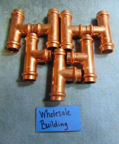 """NIBCO PROPRESS COPPER COUPLINGS TEE W/STOP 1/2"""" 9097200PC, EPDM SEALS *LOT OF 7*"""