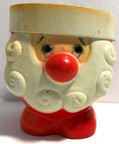 "Vintage Santa Figure Planter Candy Dish Molded Plastic 4 1/4"" Tall - Hong Kong"