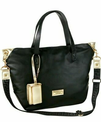 Versace Womens Tote Large Size Bag Black/Gold Handbag Tote Travel Weekender
