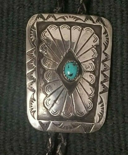 Vintage Navajo Bolo Tie Native American Sterling Silver and Turquoise