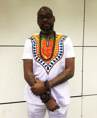 Embroidered Dashiki White Short Sleeve Shirt African Clothing Men's Fashion Wear