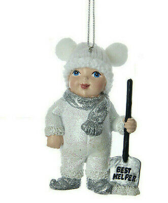 "KURT ADLER 3.5"" WHITE & SILVER SNOW KID w/SHOVEL ""BEST HELPER"" XMAS ORNAMENT"