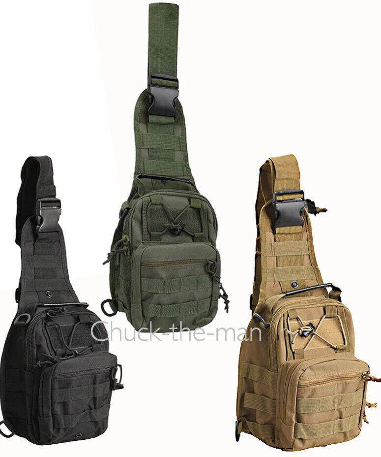 Men Chuck Shoulder Small Bag Crossbody Outdoor Sport Tactical Chest Backpack BOB