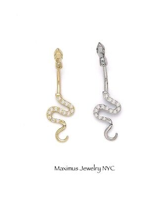 Created Diamond Snake Belly Button Piercing Body Jewelry 14k Gold 0.30Ct
