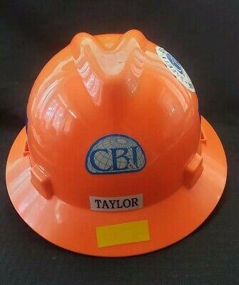 Msa V Gard Railroad Orange Full Brim Hard Hat Rachet Adjustable Medium