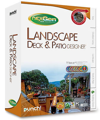 Punch! LANDSCAPE DECK & PATIO DESIGNER w/ NexGen Tech - CAD Design Software NEW!