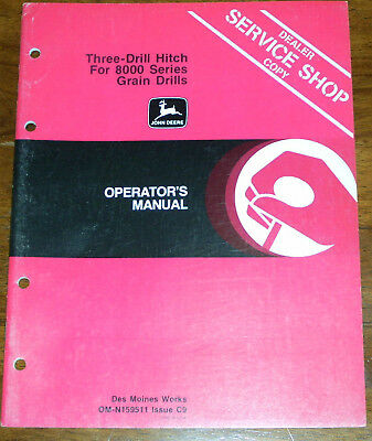 John Deere 3 Drill Hitch For 8000 Series Grain Drills Operators Manual