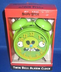 ANGRY BIRDS (GREEN) TWIN BELL ALARM CLOCK METAL CASE  , NEW