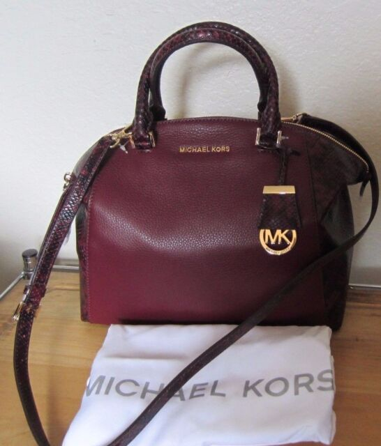 Michael Kors Merlot Leather Riley Burgundy MD Satchel Purse | eBay