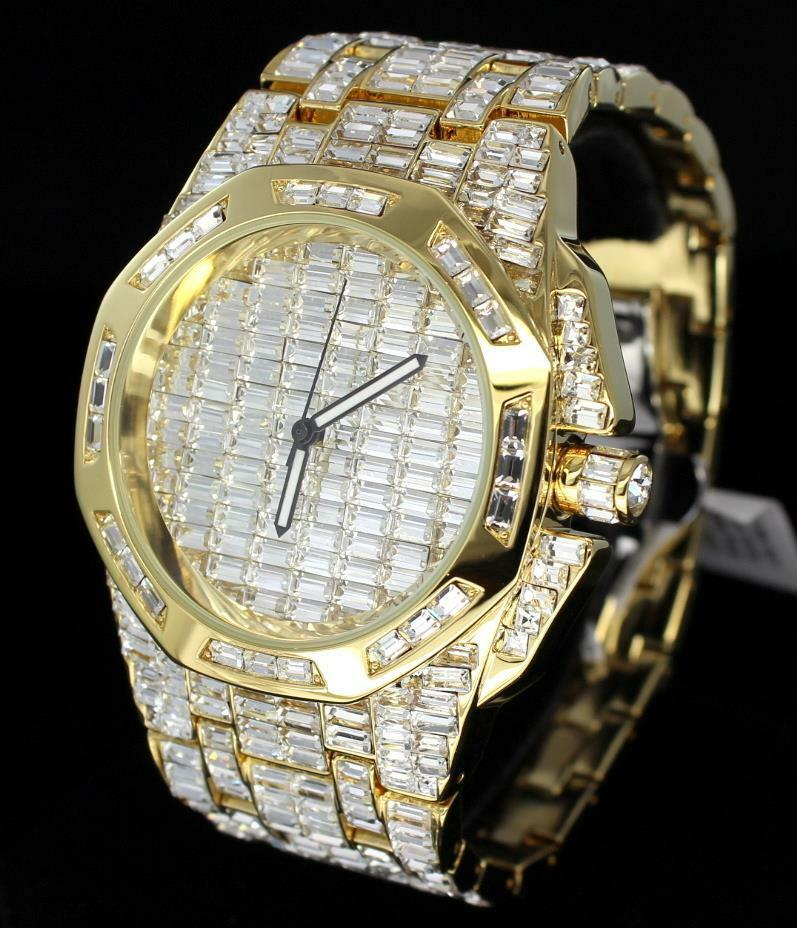 $649.99 - Luxury Swiss Movt Gold Finish Simulated Diamond Bling Baguette Mens Wrist Watch