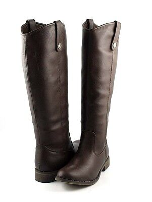 Brown Uptown Polish Look Tall Shaft Western Riding Style Flat Knee
