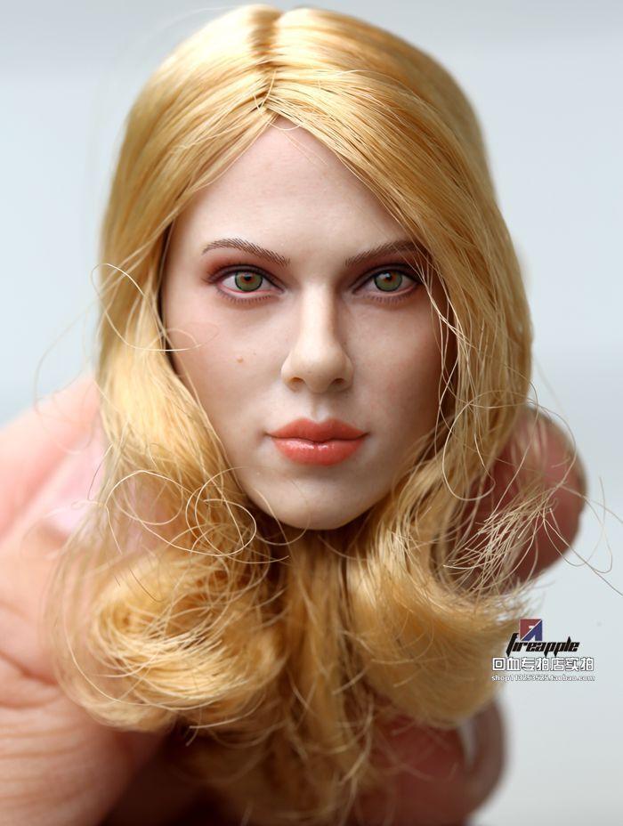 1//6 Scarlett Johansson Black Widow Head Sculpt Blond hair For Hot Toys Phicen AU