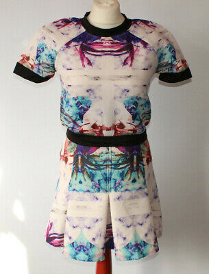 Missguided Top & Skirt Outfit White Watercolour Rorschach Tie Dye Scuba UK 10 - Rorschach Outfit