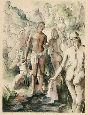 WEIBLICH UMSCHWÄRMTER JÜNGLING - Adrien Pierre BAGARRY 1931