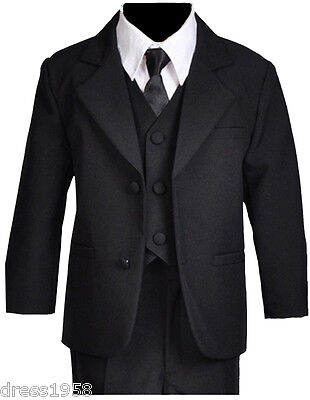 Boys Toddler, Teen Ring Bearer Recital Black Tuxedo Suit, Size :Small to 18 (Ring Bearer Suit)