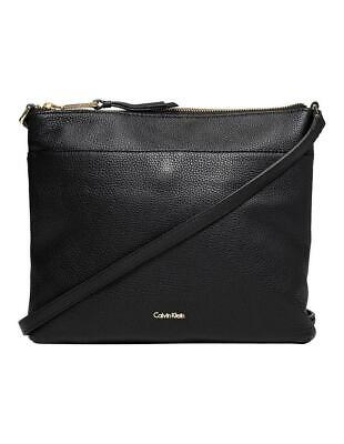 Lily Zip (Calvin Klein LILY ZIP TOP CROSSBODY BAG Womens LEATHER Bag New - H7AEA6MJ Black)