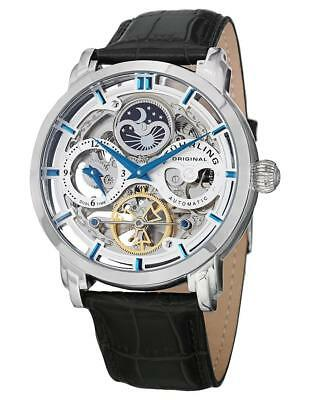 Stuhrling 371 01 Automatic Skeleton Dual Time AM/PM Indicator Leather Mens Watch