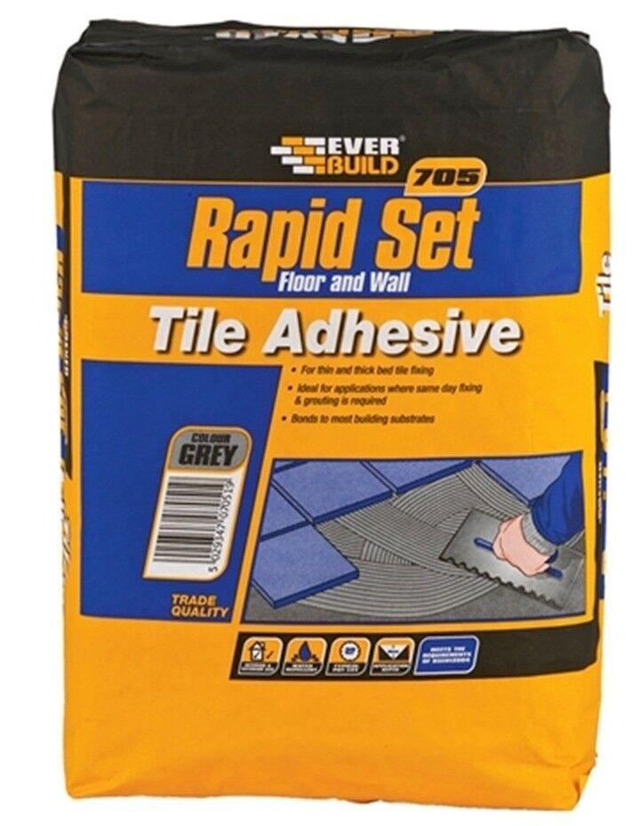 Everbuild Rapid20 705 Rapid Set Ceramic Porcelain Tile Grey Mortar Adhesive 20kg NN9 Finedon