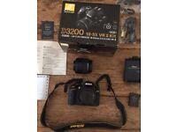 Nikon D3200 DSLR *bundle* (Cam, tripod, green screen, audio recorder, 32GB memory card etc) (£350)